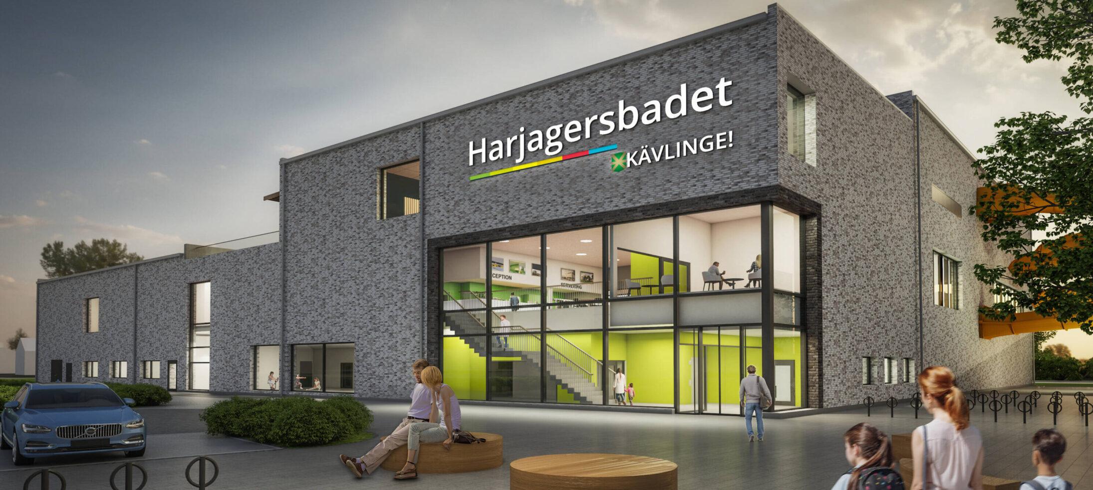 Illustrationsbild från arkitekt på nya badhuset med texten Harjagersbadet på fasaden.