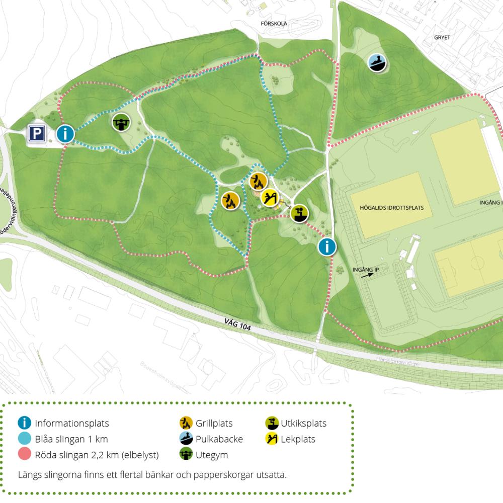 En illustration med intressepunkter som visar en karta över högalidskogsområdet.